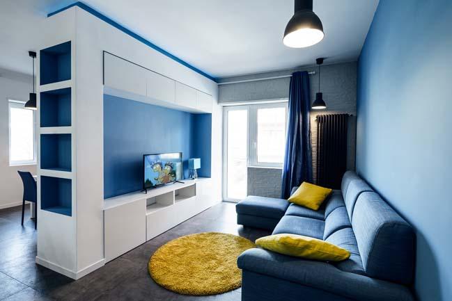 Mẫu căn hộ đẹp với màu xanh dương và trắng