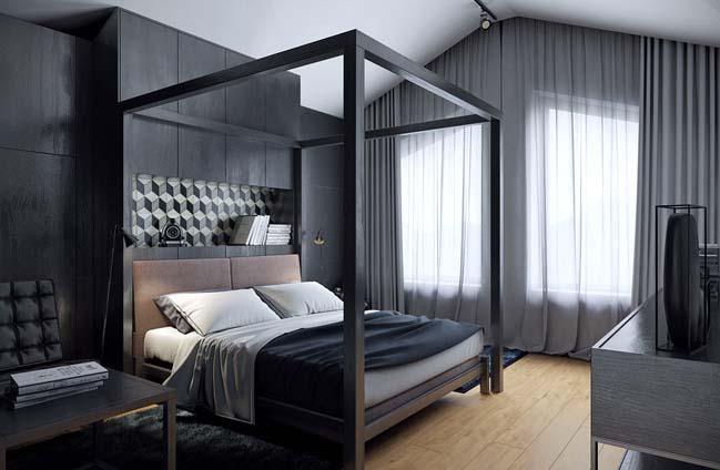 mau phong ngu dep voi tong mau den 03 Khám phá phòng ngủ đẹp với mảng tường màu đen ấn tượng