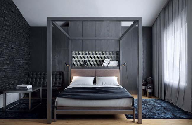 mau phong ngu dep voi tong mau den 04 Khám phá phòng ngủ đẹp với mảng tường màu đen ấn tượng