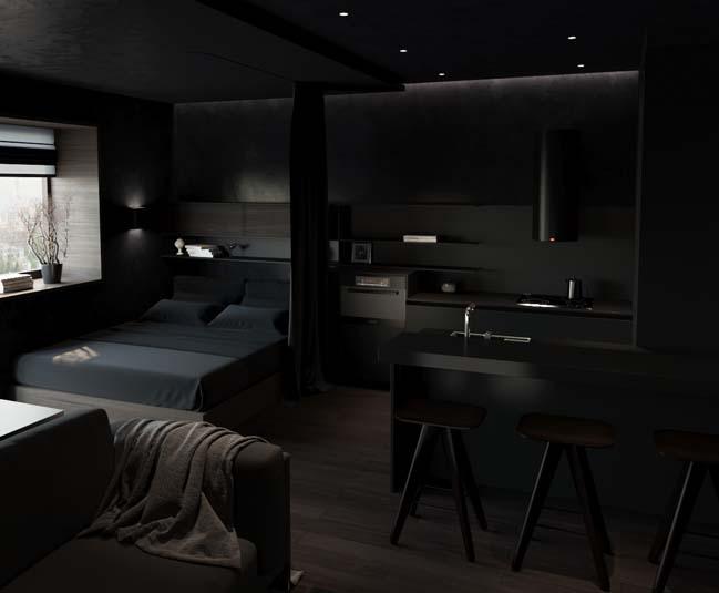 mau phong ngu dep voi tong mau den 06 Khám phá phòng ngủ đẹp với mảng tường màu đen ấn tượng