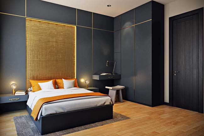 mau phong ngu dep voi tong mau den 07 Khám phá phòng ngủ đẹp với mảng tường màu đen ấn tượng