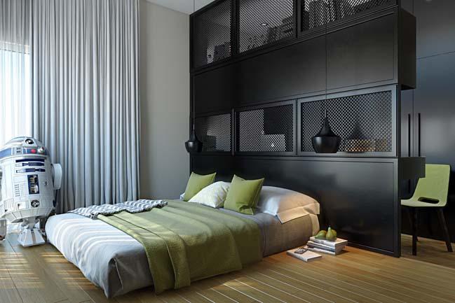 mau phong ngu dep voi tong mau den 09 Khám phá phòng ngủ đẹp với mảng tường màu đen ấn tượng