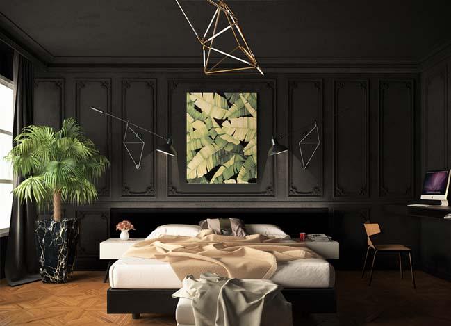 mau phong ngu dep voi tong mau den 10 Khám phá phòng ngủ đẹp với mảng tường màu đen ấn tượng