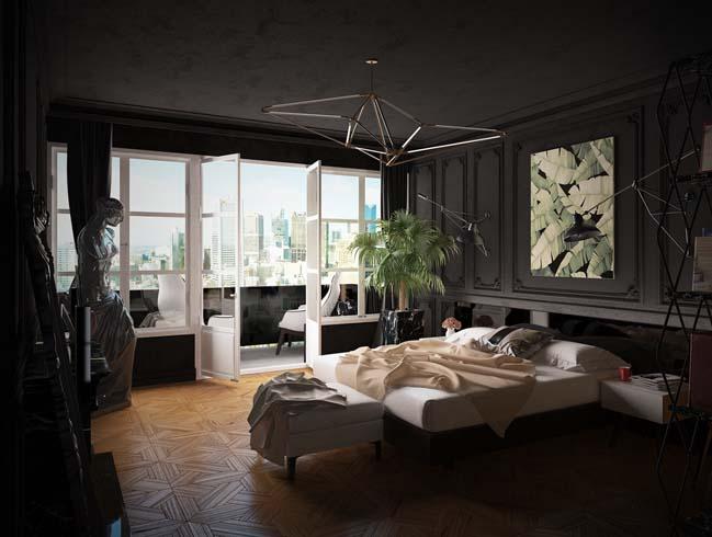 mau phong ngu dep voi tong mau den 11 Khám phá phòng ngủ đẹp với mảng tường màu đen ấn tượng