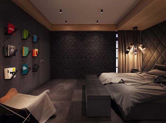 mau phong ngu dep voi tong mau den 13 Khám phá phòng ngủ đẹp với mảng tường màu đen ấn tượng