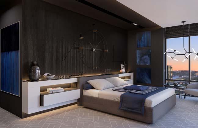 mau phong ngu dep voi tong mau den 14 Khám phá phòng ngủ đẹp với mảng tường màu đen ấn tượng