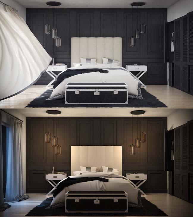 mau phong ngu dep voi tong mau den 15 Khám phá phòng ngủ đẹp với mảng tường màu đen ấn tượng