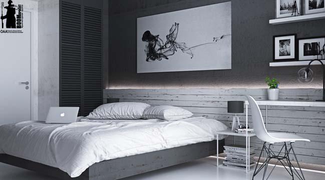 mau phong ngu dep voi tong mau den 16 Khám phá phòng ngủ đẹp với mảng tường màu đen ấn tượng