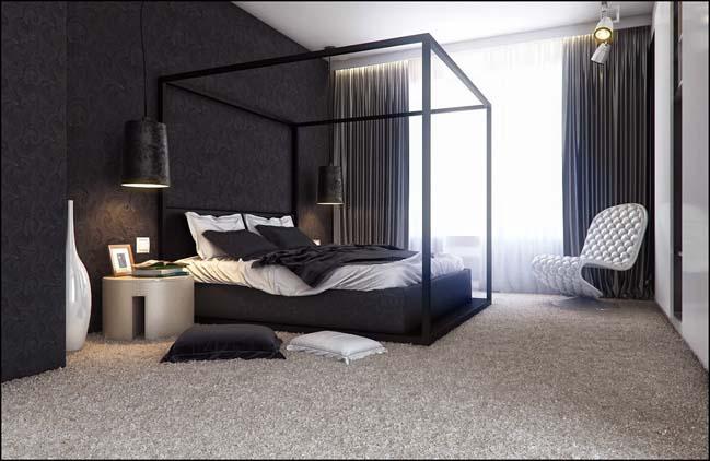 mau phong ngu dep voi tong mau den 17 Khám phá phòng ngủ đẹp với mảng tường màu đen ấn tượng