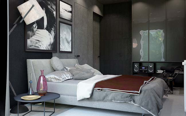 mau phong ngu dep voi tong mau den 18 Khám phá phòng ngủ đẹp với mảng tường màu đen ấn tượng