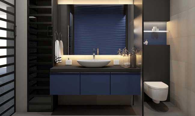 Phòng tắm đẹp hiện đại với tông màu đen và xanh dương
