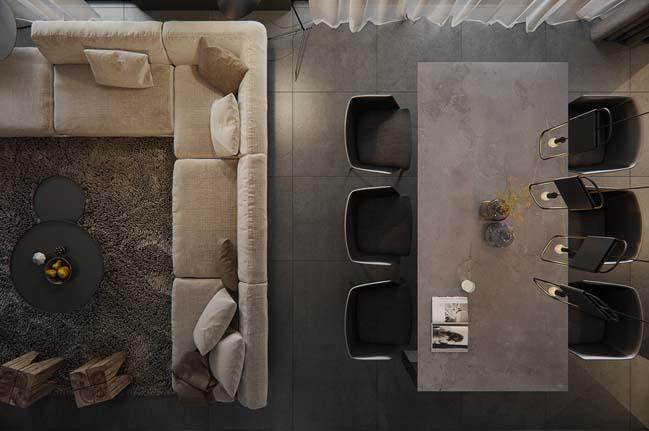 Mẫu căn hộ cao cấp với thiết kế nội thất màu xám cá tính