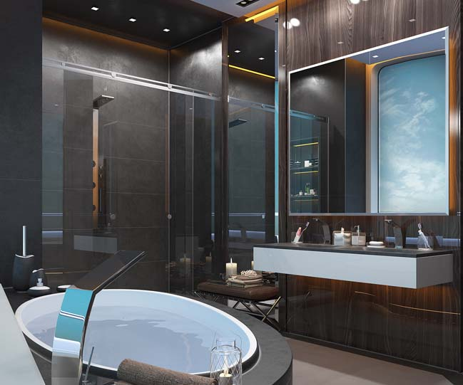 thiet ke phong tam sang trong 04 Mẫu thiết kế phòng tắm sang trọng xa xỉ với ánh sáng tuyệt đẹp