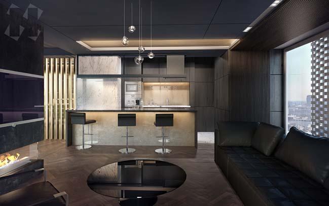 Căn hộ penthouse với tông màu tối sang trọng
