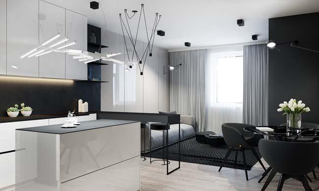 Nội thất căn hộ 2 phòng ngủ trắng đen sang trọng