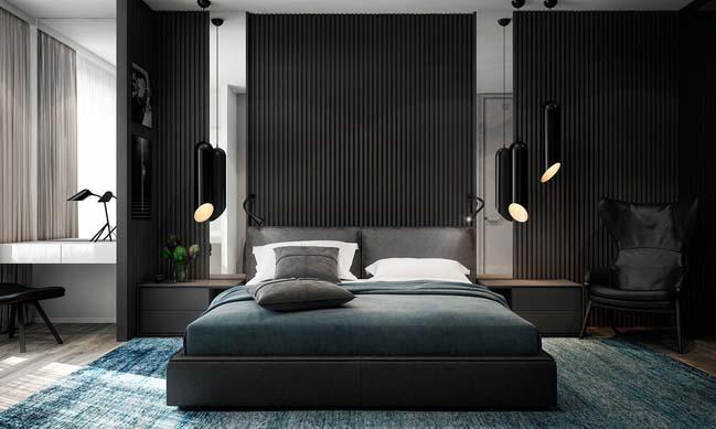 noi that can ho 2 phong ngu 07 Thiết kế nội thất căn hộ 2 phòng ngủ trắng đen sang trọng