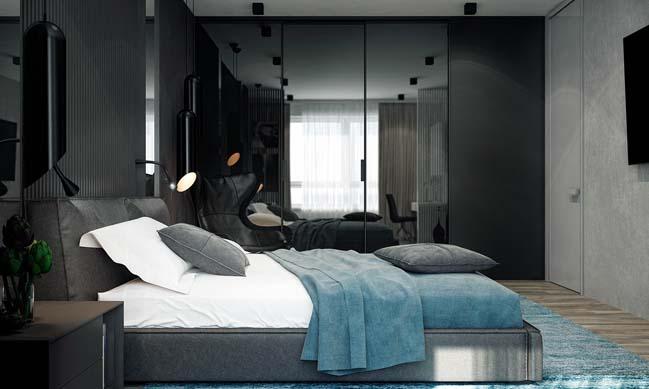noi that can ho 2 phong ngu 08 Thiết kế nội thất căn hộ 2 phòng ngủ trắng đen sang trọng