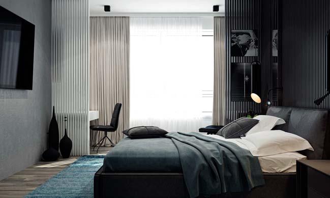 noi that can ho 2 phong ngu 09 Thiết kế nội thất căn hộ 2 phòng ngủ trắng đen sang trọng