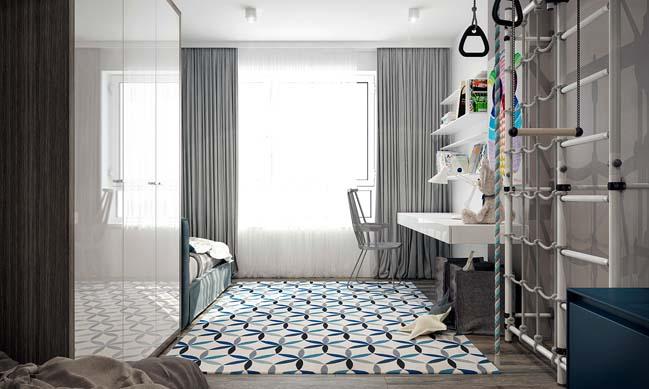 noi that can ho 2 phong ngu 11 Thiết kế nội thất căn hộ 2 phòng ngủ trắng đen sang trọng