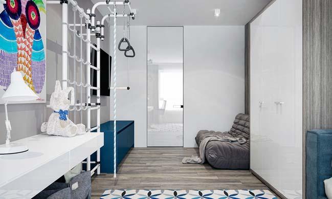 noi that can ho 2 phong ngu 12 Thiết kế nội thất căn hộ 2 phòng ngủ trắng đen sang trọng