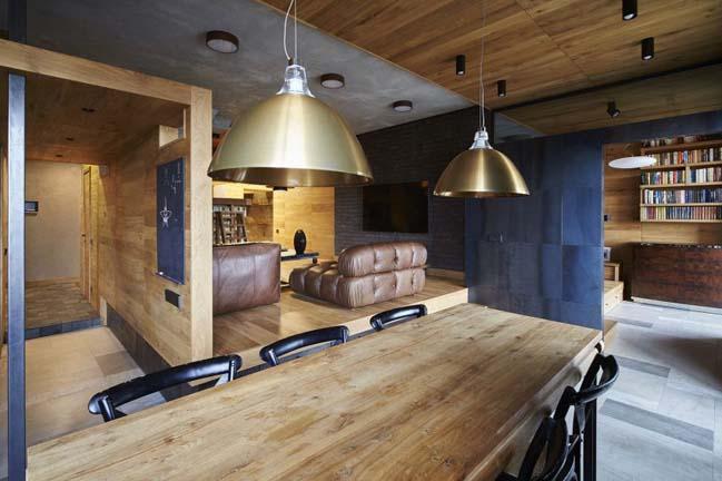 Mẫu căn hộ chung cư với nội thất gỗ ấm áp
