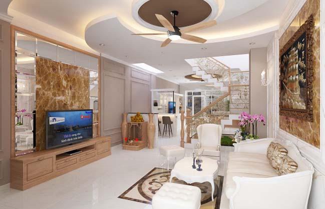 Thiết kế nhà phố đẹp 3 tầng với phong cách bán cổ điển