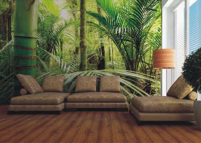 Trang trí phòng khách với những bức tranh tường phong cảnh