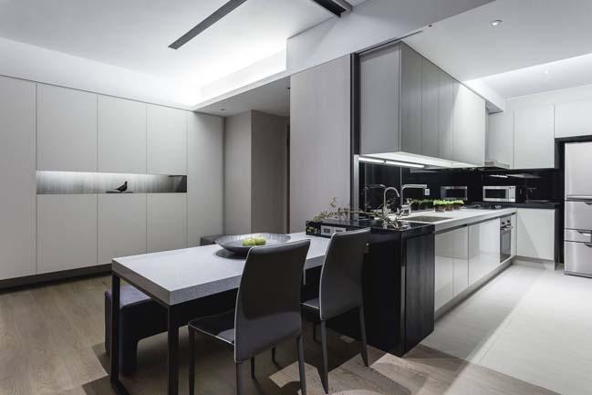 Nội thất căn hộ đẹp hiện đại cùng 2 tông màu trắng xám