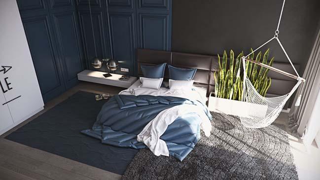 Mẫu nội thất nhà đẹp 3 phòng ngủ với tông màu tối