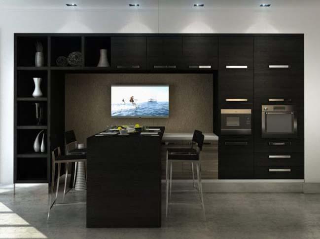 mau tu bep dep voi tong mau den 01 Thiết kế nhà bếp nổi bất với các tông màu tối