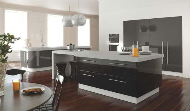 mau tu bep dep voi tong mau den 08 Thiết kế nhà bếp nổi bất với các tông màu tối