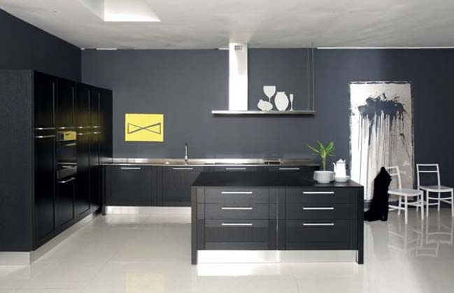 mau tu bep dep voi tong mau den 12 Thiết kế nhà bếp nổi bất với các tông màu tối