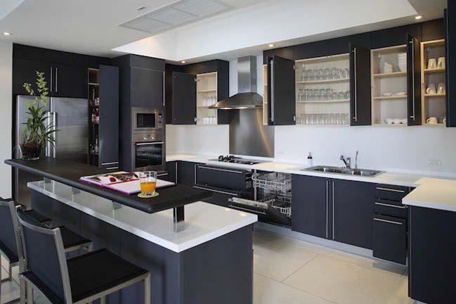mau tu bep dep voi tong mau den 13 Thiết kế nhà bếp nổi bất với các tông màu tối