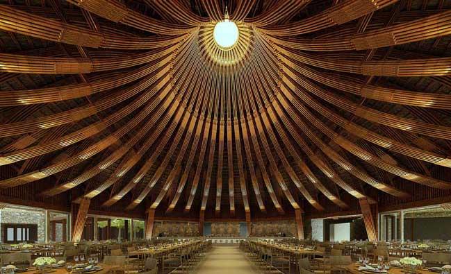 Thiết kế nhà hàng với kiến trúc mái tre khổng lồ