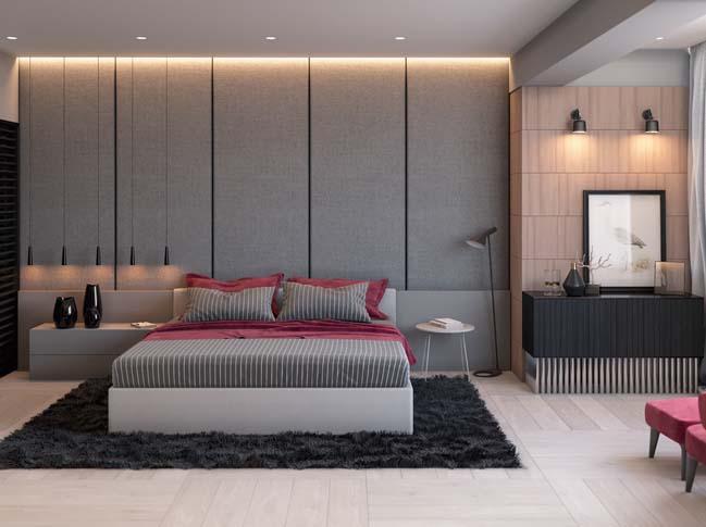 Phòng ngủ đẹp hiện đại với điểm nhấn màu xám