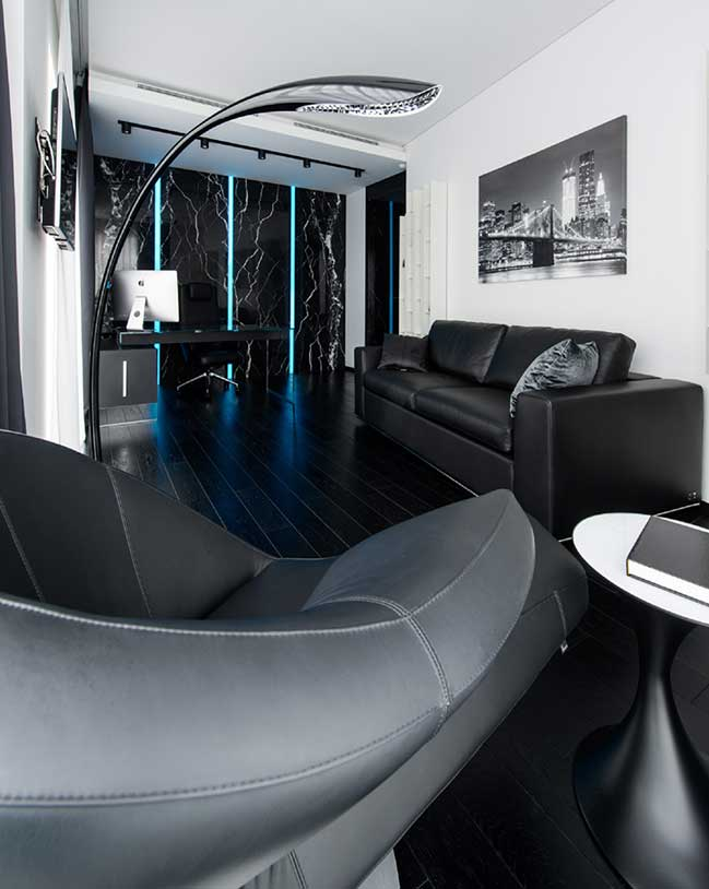 Căn hộ 1 phòng ngủ với nội thất tương phản trắng và đen