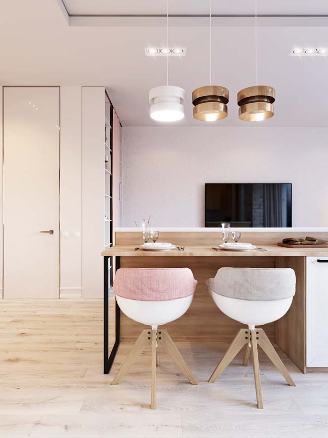 Căn hộ chung cư với tông màu trắng hồng xinh xắn