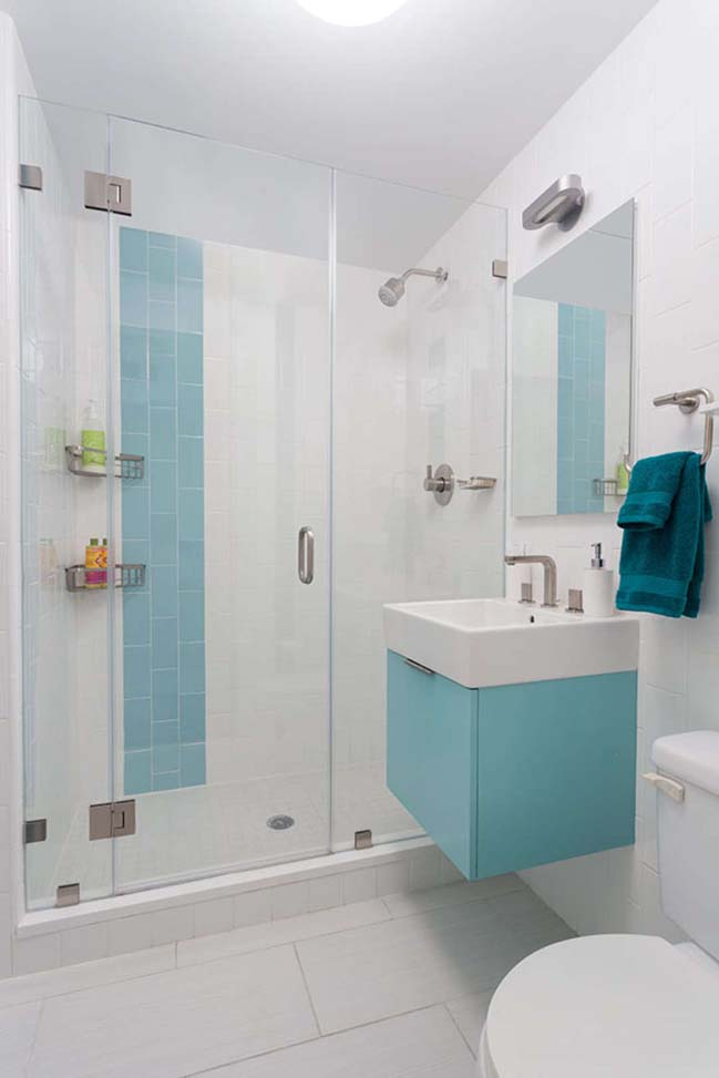 Những mẫu phòng tắm đẹp với tông màu xanh và trắng