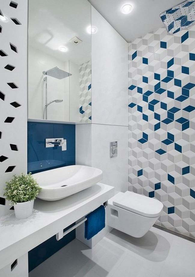 phong tam dep voi tong mau xanh va trang 13 Chiêm ngưỡng những mẫu phòng tắm đẹp với tông màu xanh và trắng sang trọng