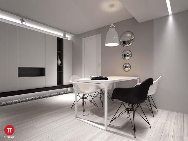 Căn hộ chung cư nhỏ 1 phòng ngủ với thiết kế tinh tế