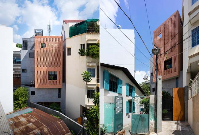 Nhà phố đẹp 4 tầng với mặt tiền gạch đỏ nổi bật