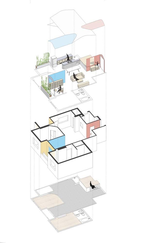 Căn hộ chung cư đẹp với những mảng tường sắc màu