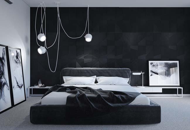 mau thiet ke phong ngu dep voi tong mau toi 01 Mẫu thiết kế phòng ngủ đẹp, cá tính cực huyền bí