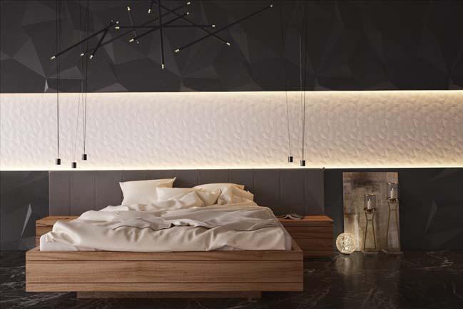 mau thiet ke phong ngu dep voi tong mau toi 03 Mẫu thiết kế phòng ngủ đẹp, cá tính cực huyền bí