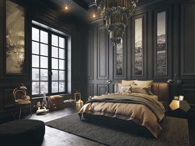 mau thiet ke phong ngu dep voi tong mau toi 05 Mẫu thiết kế phòng ngủ đẹp, cá tính cực huyền bí