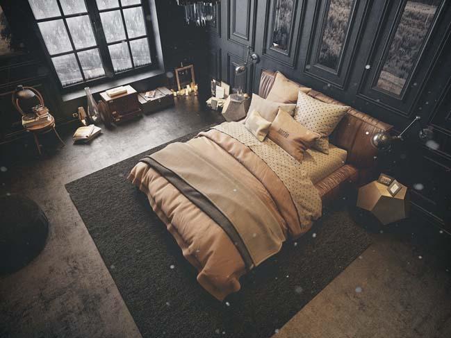 mau thiet ke phong ngu dep voi tong mau toi 06 Mẫu thiết kế phòng ngủ đẹp, cá tính cực huyền bí