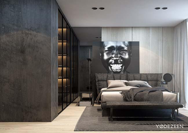 mau thiet ke phong ngu dep voi tong mau toi 09 Mẫu thiết kế phòng ngủ đẹp, cá tính cực huyền bí
