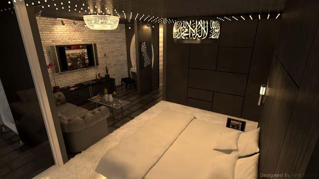 mau thiet ke phong ngu dep voi tong mau toi 11 Mẫu thiết kế phòng ngủ đẹp, cá tính cực huyền bí