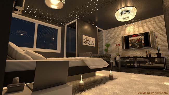 mau thiet ke phong ngu dep voi tong mau toi 12 Mẫu thiết kế phòng ngủ đẹp, cá tính cực huyền bí