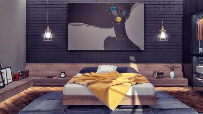 mau thiet ke phong ngu dep voi tong mau toi 13 Mẫu thiết kế phòng ngủ đẹp, cá tính cực huyền bí